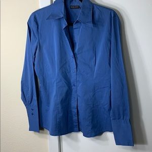 New York & Co blue button up collared shirt